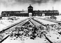 The entrance to the Auschwitz-Birkenau death camp as it appeared in 1941, two years before Denis Avey was imprisoned nearby.