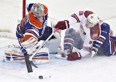 Phoenix Coyotes' Mikkel Boedker (89) is stopped by Edmonton Oilers goalie Nikolai Khabibulin (35) during third period NHL hockey action in Edmonton, Alta., on Saturday February 23, 2013. THE CANADIAN PRESS/Jason Franson.