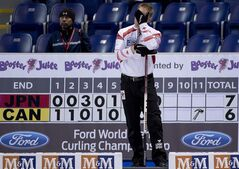 Canada skip Brad Jacobs pauses for a moment during a morning draw against Japan at the World Men's Curling Championship in Victoria, B.C. Wednesday, April 3, 2013. THE CANADIAN PRESS/Jonathan Hayward