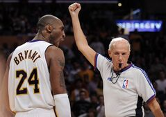 FILE - In this March 2, 2008, file photo, Los Angeles Lakers guard Kobe Bryant (24) yells at referee Dick Bavetta as he calls a foul during the second half of an NBA basketball game against the Dallas Mavericks in Los Angeles. Bavetta, 74, tells The Associated Press that it is the right time to leave the game after a 39-year career. (AP Photo/Mark J. Terrill, File)