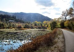 This Oct. 14, 2013 photo shows the path of Trail of the Coeur d'Alenes as it weaves around a small lake and hillside in Idaho. The trail is one of two dozen routes named to the Rails-to-Trails Conservancy Hall of Fame. (AP Photo/Carey J. Williams)
