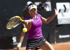 Kurumi Nara of Japan, returns to Klara Zakopalova of the Czech Republic during the finals at the Rio Open tennis tournament in Rio de Janeiro, Brazil, Sunday, Feb.23, 2014. (AP Photo/Silvia Izquierdo)