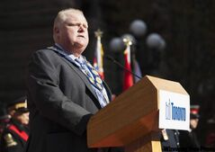 Toronto Mayor Rob Ford speaks during the Remembrance Day ceremony in Toronto.