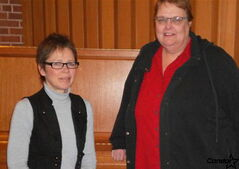 Churchill Park United Church choir director Arlene Baschak and Rev. Janet Walker and take a moment between rehearsals.