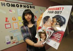 St. Boniface University student Renée LeNeveu is 'shocked' by poster vandalism.