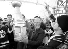 Mayor Sam Katz celebrates at The Forks.