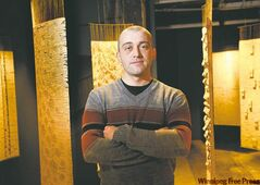Winnipeg artist Eric Lesage has woven strips of an old dictionary's pages into evocative hanging panels.