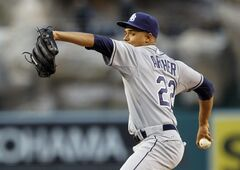Tampa Bay Rays starting pitcher Chris Archer throws against the Los Angeles Angels in the first inning of a baseball game on Friday, May 16, 2014, in Anaheim, Calif. (AP Photo/Alex Gallardo)