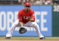 Texas Rangers first baseman Carlos Pena fields a ground out by Minnesota Twins' Kendrys Morales in the fourth inning of a baseball game, Saturday, June 28, 2014, in Arlington, Texas. (AP Photo/Tony Gutierrez)
