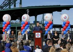 Chicago Cubs President of Baseball Operations, Theo Epstein, speaks during a ceremony to unveil the Cubs' new Cactus League spring training baseball facility, Wednesday, Feb. 12, 2014, in Mesa, Ariz. (AP Photo/Matt York)