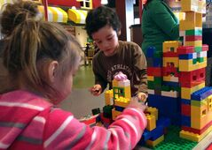 Christian Banos, 5 and his sister, Michelle Banos, 3 build a castle at Legoland Discovery Centre at the Vaughan Mills mall, north of Toronto on Friday, March 1, 2013. THE CANADIAN PRESS/Hailey Chan