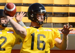 Jason Boltus works out during a Tiger-Cats practice in 2012.