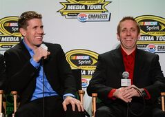 NASCAR Sprint Cup Series drivers Carl Edwards, left, and Greg Biffle enjoy a laugh during the NASCAR Sprint Cup Series Media Tour on Wednesday, Jan. 29, 2014, in Charlotte, N.C. (AP Photo/The Charlotte Observer, Jeff Siner) MAGS OUT; TV OUT; NEWSPAPER INTERNET ONLY