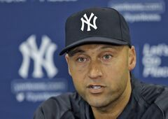 FILE - In this Feb. 19, 2014 file photo, New York Yankees shortstop Derek Jeter answers a question during a news conference in Tampa, Fla. Jeter, saluted at the All-Star game and making a long goodbye this season, finishes his baseball life this fall. (AP Photo/Chris O'Meara, File)