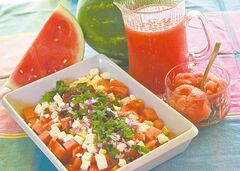Agua fresca (in pitcher), watermelon sorbet and watermelon and feta salad illustrate varied uses for the cool, sweet melon.