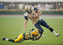 Winnipeg Blue Bombers' QB Buck Pierce was running for his life during much of Friday's disaster in Edmonton.