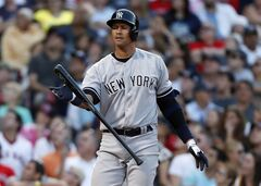 In this Aug. 17, 2013, photo, New York Yankees' Alex Rodriguez reacts after a swinging strike during the Yankees' baseball game against the Boston Red Sox in Boston. Rodriguez's lawyer says his client has dropped a lawsuit against a Yankees team doctor. It had been a lingering piece of Rodriguez's legal fight over his baseball career. Attorney Alan Ripka said Friday, June 20, 2014, that Rodriguez withdrew his suit against Dr. Christopher Ahmad to eliminate distractions as the third baseman anticipates returning to baseball after his season-long suspension. (AP Photo/Michael Dwyer)