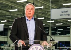 FILE - In this Feb. 14, 2014 file photo, Gary Casteel, now the secretary-treasurer of the United Auto Workers, discusses the union's loss in a union election at the Volkswagen plant in Chattanooga, Tenn. Casteel said on Thursday, July 10, 2014, that the UAW is forming a local chapter in Chattanooga, and that it expects Volkswagen to recognize it once it signs up a