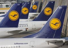 Lufthansa aircrafts are parked as Lufthansa pilots went on a three-days-strike in Frankfurt, Germany on April 2, 2014. THE CANADIAN PRESS/AP, Michael Probst