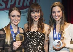 Justine, Maxime and Chloe Dufour-Lapointe are pictured in Montreal, April 1, 2014. THE CANADIAN PRESS/Graham Hughes