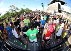 Full marathon participants at the start line at the University of Manitoba during the 35th annual Manitoba Marathon Sunday.