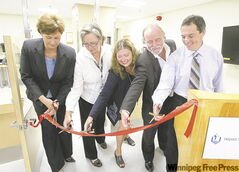 From left: Health Minister Theresa Oswald, Jan Currie of the WRHA, St. Boniface hospital's Shirley Herlick, Dr. Michel Tetreault and Dr. Alecs Chochinov at a ribbon-cutting ceremony Wednesday afternoon.