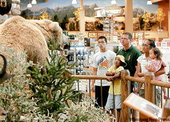 The Pennington family from Colorado Springs, Colorado, view a stuffed animal exhibit at Cabela�s, a sporting and hunting outfitting store outside Omaha, Neb., Thursday, July 24, 2008. Consumer spending is down and gas prices are up. That�s bad math for the scores of destination retailers across the country that want customers to fill up the tank for a gas-guzzling day of retail therapy. From left: Johnny Pennington, 17, Alex Pennington, 7, James Pennington, Mary Pennington and Jayla Pennington, 22 months-old. (AP Photo/