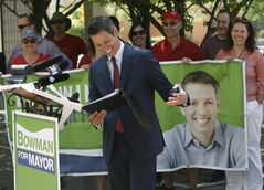 Brian Bowman makes his first policy announcement Tuesday at city hall.