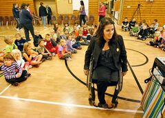 Janis Ollson talks to students about her life since having radical cancer surgery that made headlines around the world.