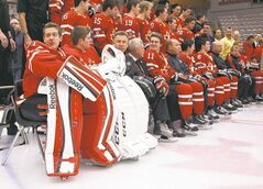 Goalie       Jordan Binnington (far left) and his Canadian teammates will be adapting to  a difference of 10 to 14 time zones when the arrive in Ufa, Russia for the world junior hockey tournament.