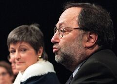 Then CBC President Robert Rabinovitch and CBC Board of Directors Chair Guylaine Saucier are pictured on May 29, 2000. THE CANADIAN PRESS/Tannis Toohey