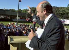 Restored Market Basket CEO Arthur T. Demoulas speaks to employees at company headquarters, Thursday, Aug. 28, 2014, in Tewksbury, Mass., as he returned to work after reaching an agreement to buy the company. Workers refused to work, and customers stopped shopping at the stores after he was ousted in June. (AP Photo/Boston Herald, Mark Garfinkel) MANDATORY CREDIT. BOSTON GLOBE OUT. METRO BOSTON NEWSPAPER OUT. MAGS OUT.