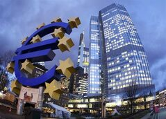 FILE - The Euro sculpture stands in front of the European Central Bank, right, in Frankfurt, Germany, in this Dec.16, 2011 file photo. The European Central Bank took bold steps Thursday June 5, 2014 to protect Europe's fragile economic recovery, cutting interest rates and offering to pump more money into the financial system. (AP Photo/Michael Probst, File)