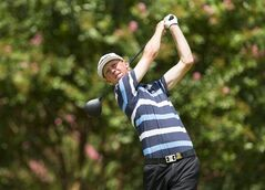 Jimmy Mullen, of England, watches his tee shot on the second hole during the third round of match play at the 2014 U.S. Amateur golf tournament at Atlanta Athletic Club in Johns Creek, Ga., Thursday, Aug. 14, 2014. (AP Photo/USGA, Chris Keane)