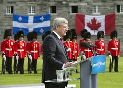 Prime Minister Stephen Harper speaks at Fort Lennox Friday, September 14, 2012 in Saint-Paul-de-L'ile-aux-Nois, Que. Harper commemorated the war of 1812. THE CANADIAN PRESS/Ryan Remiorz