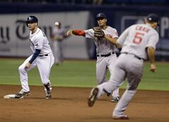 Boston Red Sox shortstop Xander Bogaerts, center, throws the ball late to first base after forcing Tampa Bay Rays' Kevin Kiermaier, left, at second base on a ball hit by Ben Zobrist during the second inning of a baseball game Saturday, Aug. 30, 2014, in St. Petersburg, Fla. Ducking out of the play is Red Sox's Allen Craig. (AP Photo/Chris O'Meara)
