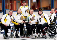 Dennis Thiessen (middle right) with his teammates following their 2011 National Wheelchair Curling Championship.