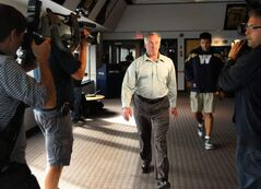Joe Mack, Winnipeg Blue Bomber vice-president and GM of Football Operations arrives at media conference Thursday.