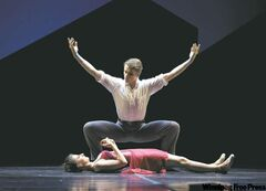 Svengali  (Harrison James) enchants Trilby (Amanda Green) in the Royal Winnipeg Ballet's Svengali.