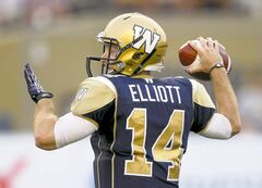Winnipeg Blue Bombers' QB Joey Elliott sets to throw a pass Friday night.