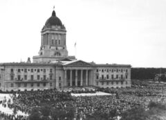 Thousands of Winnipeggers, including those who gathered at the legislature, marked Canada's Diamond Jubilee in 1927