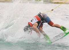 Adam Whitaker of Manitoba scores second place at Canadian National Wake Park Championships at Adrenaline Adventures on Saturday.