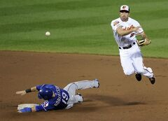 Texas Rangers' Dan Robertson (19) is out at second as Baltimore Orioles shortstop J.J. Hardy (2) throws to first to get out Elvis Andrus for the double-play during the fifth inning of a baseball game, Tuesday, July 1, 2014, in Baltimore. (AP Photo/Nick Wass)