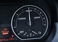 The dashboard of an ActiveE electric 1-series coupe monitors the electrical system.