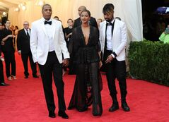 FILE - In this May 5, 2014 file photo, Jay Z, left, and Beyonce arrive at The Metropolitan Museum of Art's Costume Institute benefit gala celebrating