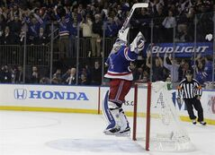 New York Rangers goalie Henrik Lundqvist (30) reacts as time winds off Thursday, May 29, 2014, in New York. THE CANADIAN PRESS/AP, Julie Jacobson