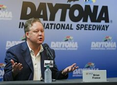 CORRECTS TO BRIAN-Brian France, CEO and Chairman of NASCAR answers questions during a news conference the prior to the Sprint cup Series auto race at Daytona International Speedway in Daytona Beach, Fla., Saturday, July 5, 2014. (AP Photo/John Raoux)
