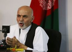 Afghanistan's presidential candidate Ashraf Ghani Ahmadzai speaks during a press conference at his resident in Kabul, Afghanistan, Thursday, June 26, 2014. Ahmadzai called on Abdullah to rejoin the process and demanded that the commission stick to the official timetable for releasing preliminary results next week. (AP Photo/Rahmat Gul)