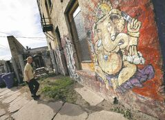 Murals cover the Red Road Lodge front and back. (Phil Hossack / Winnipeg Free Press)