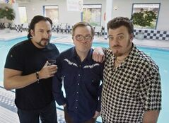 The Trailer Park Boys, from left: Julian, (John Paul Tremblay), Bubbles, (Michael Smith), and Ricky (Robb Wells).
